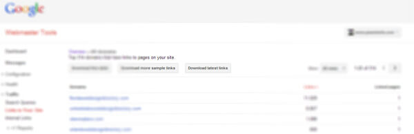 Download your links from Google webmaster tools